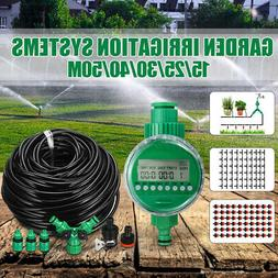 131FT Hose Water Irrigation System Timer Greenhouse Plants L