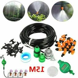 15/25M Feet DIY Micro Drip Irrigation System Plant Self Wate