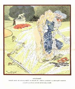 1907 Art Print French Caricature Girl Dress up Lawn Sprinkle