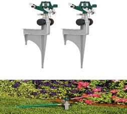 2 Pack Impulse Spike Lawn Sprinkler Metal Adjustable Radius