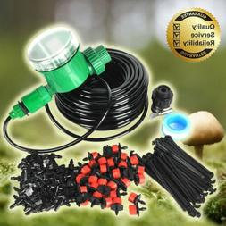 25m DIY Micro Drip Irrigation System Auto Timer Self Plant W