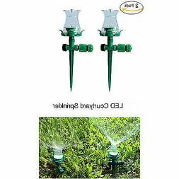 2Pcs 7 Colors LED Courtyard Sprinkler Automatic Plastic Wate