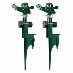 Orbit 2pk Impact Sprinkler Head & Metal Spike Base, Green Ya