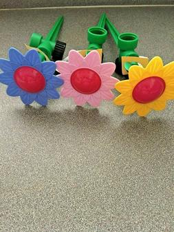 3 Decorative Daisy Lawn Garden Water Sprinklers Pink Yellow