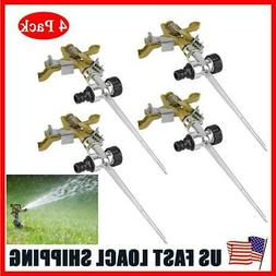 4X Metal 360° Rotation Lawn Sprinkler Watering Spray w/ Spi