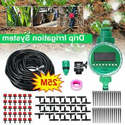 82ft Drip Irrigation System Plant Timer Self Garden Watering