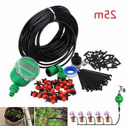 DIY Micro Drip Irrigation Auto Timer Self Plant Watering 25M
