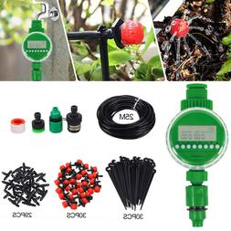 DIY Micro Drip Irrigation Auto Timer Self Plant Watering 25M