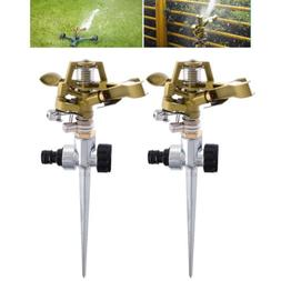 Garden Lawn Water Sprinkler Metal Spike Grass Hose 360° Pip