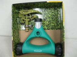 HEAVYDUTY BRASS HEAD PULSATING LAWN SPRINKLER~LARGE WHEELS~H