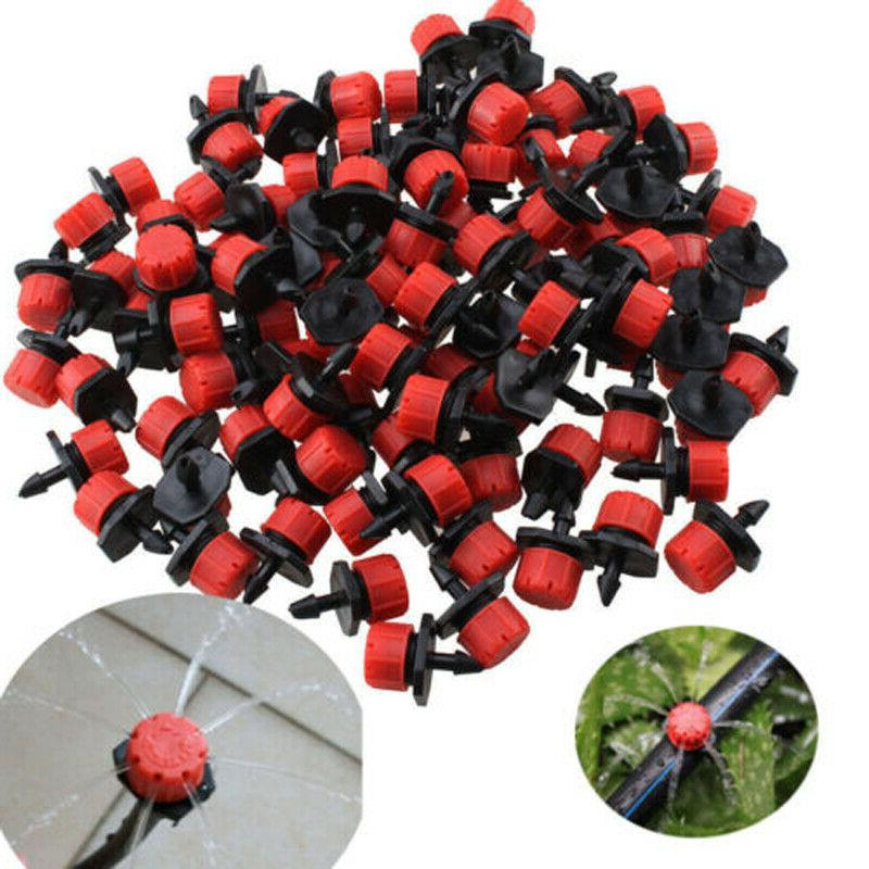 100Pcs//Pack Irrigation Sprinklers Watering Drippers Emitter Drip System On 1//4/'/'
