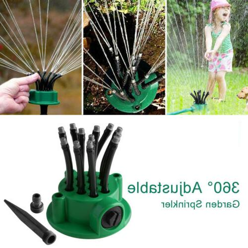 360° Rotating Automatic 12 Tubes Water Sprinklers Lawn US