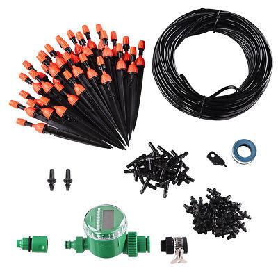 82ft Automatic Water Drip Irrigation Kit Timer Micro Plant S