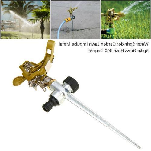 Garden Sprinkler 360° Rotating Water Impulse Spike Grass