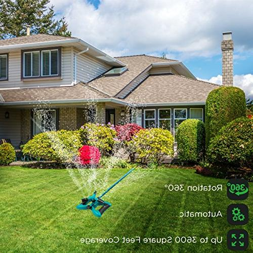 GrowGreen Garden Sprinkler, 360 Degree Rotating Lawn with a Area of Coverage Adjustable,
