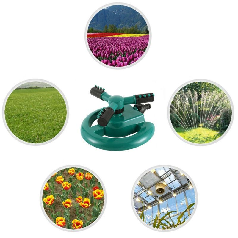 360° Lawn Circle Rotating Water Sprinkler 3 Nozzle Garden