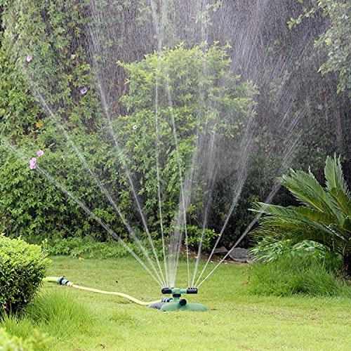 QSUBFPYK Sprinkler,Nursery Irrigation,Automatic 360-degree Lawn Covers 3-arm with Iron Rod
