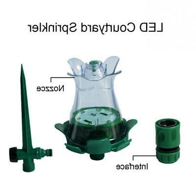 2Pc 7 Colors LED Courtyard Garden Sprinkler Auto Lawn Sprink