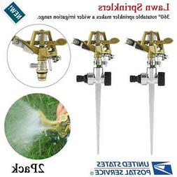 Metal 2 Pack Lawn Sprinkler 360° Rotating Garden Grass Spra
