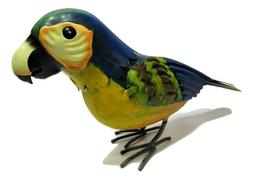 Small Rustic Colorful Tropical Parrot Rain Forest Metal Tin Bird Figure